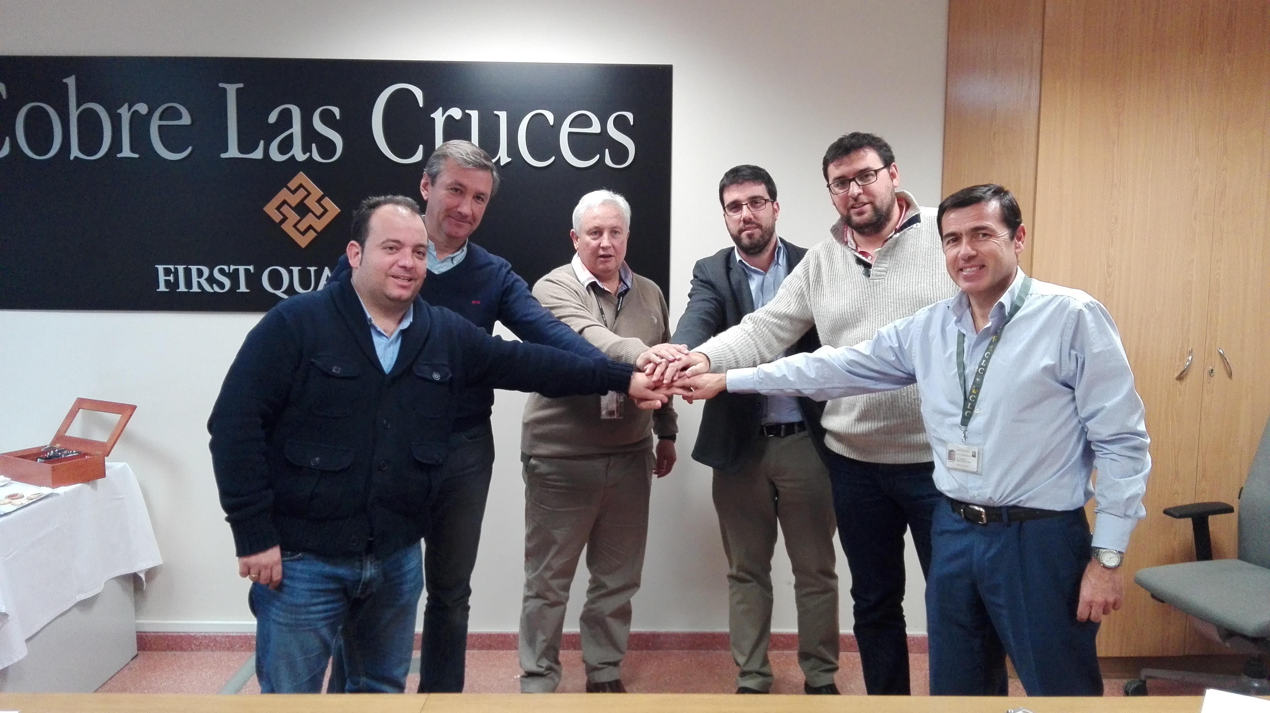Los alcaldes de Gerena, Guillena, Salteras y La Algaba, con el director General de CLC y el gerente de la Fundación.
